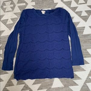 J. Crew lace front long sleeve shirt xs